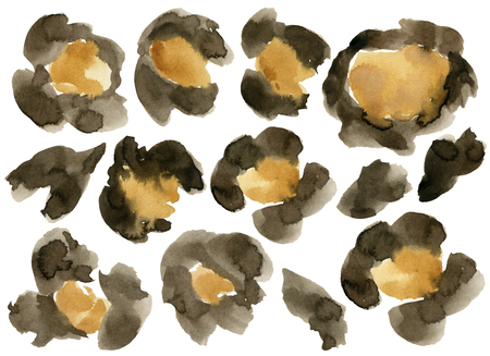 Watercolor leopard camouflage set. Hand painted beautiful illustration with animal points isolated on white background. For design, print, fabric or background.
