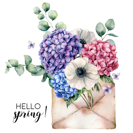 Watercolor Hello spring card with bouquet and envelope. Hand painted hydrangea, anemone flowers with eucalyptus leaves and branch isolated on white background. Botanical illustration for design. Stock Photo