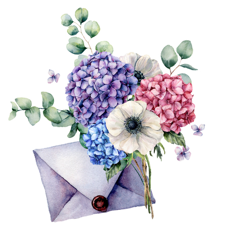 Watercolor card with bouquet and blue envelope. Hand painted hydrangea, anemone flowers with eucalyptus leaves and branch isolated on white background. Botanical illustration for design and print.