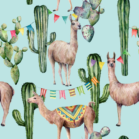 Watercolor seamless pattern with llama, cacti and flag garland. Hand painted beautiful illustration with animals and floral on pastel blue background. For design, print, fabric or background. Stock Photo