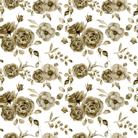 Watercolor monochrome anemone, rose and tulip big seamless pattern. Hand painted sepia flowers and berries with eucalyptus leaves and branch isolated on white background for design, print or fabric.