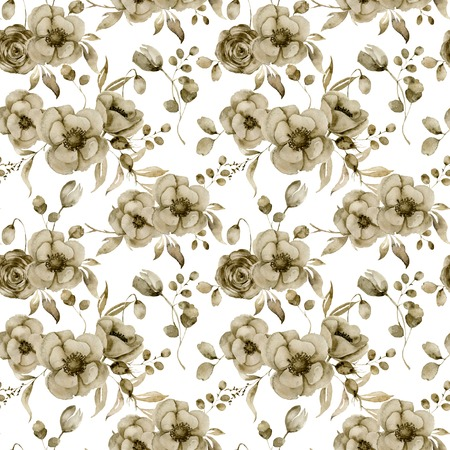 Watercolor monochrome anemone and tulip big seamless pattern. Hand painted sepia flowers and berries with eucalyptus leaves and branch isolated on white background for design, print or fabric. Stock Photo