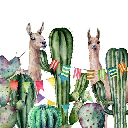 Watercolor card with a pair of llamas peek out of the cactus bushes. Hand painted illustration with animals, floral and flag garland on white background. For design, print, fabric or background. Stock Photo