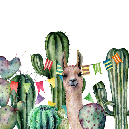 Watercolor card with llama looks out from the thickets of the cactus bushes. Hand painted illustration with floral and flag garland on white background. For design, print, fabric or background.