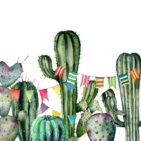 Watercolor card flag garland on cacti. Hand painted illustration with floral and flag garland on white background. For design, print, fabric or background.