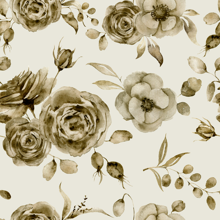 Watercolor monochrome anemone and rose seamless pattern. Hand painted sepia flowers and berries with eucalyptus leaves and branch isolated on vintage background for design, print or fabric.