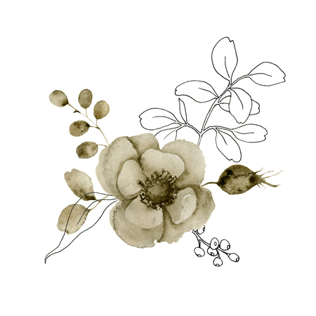 Watercolor and sketch anemone bouquet. Hand painted flowers and berries with eucalyptus leaves and branch isolated on white background for design, print or fabric.