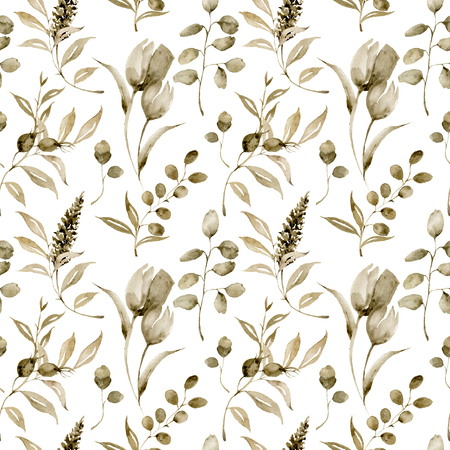 Watercolor monochrome tulip big seamless pattern. Hand painted sepia flowers and berries with eucalyptus leaves and branch isolated on white background for design, print or fabric. Stock Photo