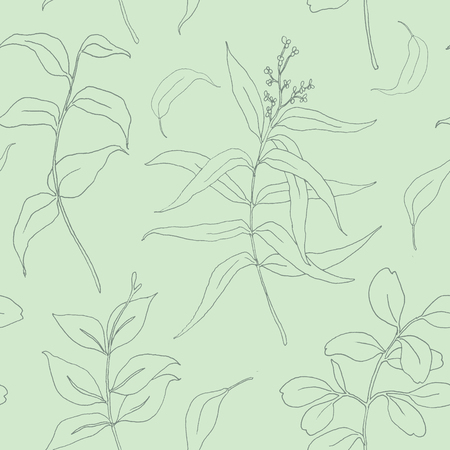 Sketch eucalyptus leaves seamless pattern. Hand painted illustration with eucalyptus leaves and branch isolated on pastel background for design, print or fabric.