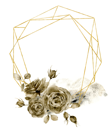 Watercolor polygonal golden frame with monochrome floral bouquet. Hand drawn modern label with leaves, branches and rose isolated on white background. Greeting template for design, print.