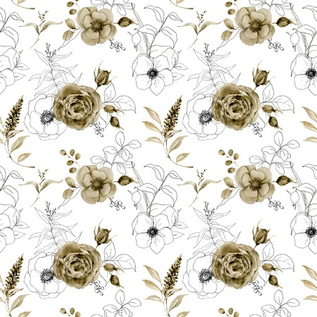 Watercolor and sketch floral seamless pattern. Hand painted monochrome and sketch flowers, berries with eucalyptus leaves and branch isolated on white background for design, print or fabric.