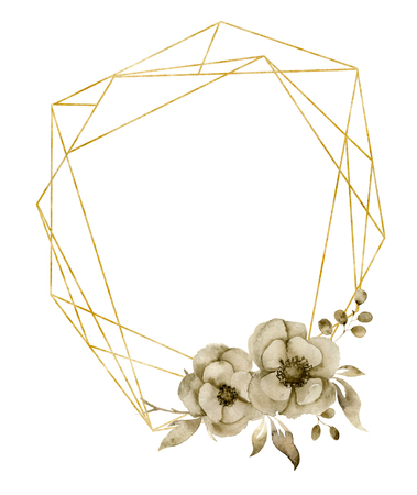 Watercolor hexagonal golden frame with monochrome floral anemone bouquet. Hand drawn modern label with leaves, branches and flowers isolated on white background. Greeting template for design, print.