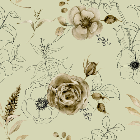 Watercolor monochrome and sketch rose seamless pattern. Hand painted sepia flowers with eucalyptus leaves and branch isolated on vintage background for design, print or fabric.