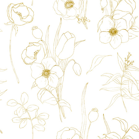 Golden sketch anemone seamless pattern. Hand painted flowers, eucalyptus leaves and branch isolated on white background for design, print or fabric. Archivio Fotografico - 118927856