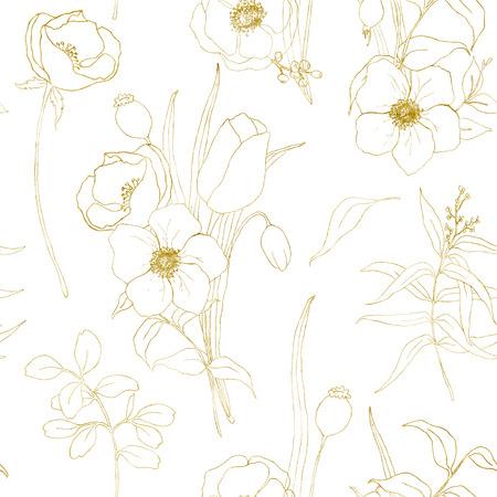 Nahtloses Muster der goldenen Skizzenanemone. Handgemalte Blumen, Eukalyptusblätter und Zweige isoliert auf weißem Hintergrund für Design, Druck oder Stoff.
