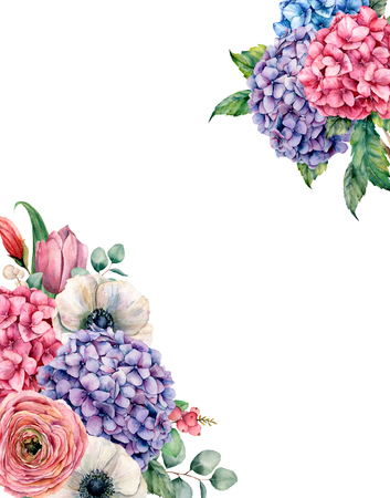 Watercolor card with hydrangea flowers bouquet. Hand painted pink and violet hydrangea, tulip, anemone and ranunculus with eucalyptus leaves isolated on white background for design, print. Stock Photo