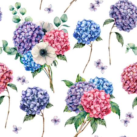 Watercolor seamless pattern with hydrangea and anemone. Hand drawn hydrangea, anemone, eucalyptus leaves and branches isolated on white background. For design, print or fabric. 스톡 콘텐츠 - 118927859