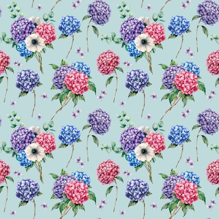 Watercolor seamless pattern with anemone and hydrangea. Hand drawn hydrangea, anemone, eucalyptus leaves and branches isolated on pastel blue background. For design, print or fabric.