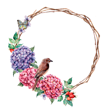 Watercolor wreath with sparrow and batterfly. Hand painted hydrangea and dog rose with eucalyptus leaves isolated on white background for design, print.