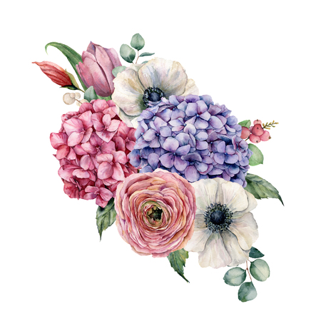 Watercolor hydrangea flowers bouquet. Hand painted pink and violet hydrangea, tulip, anemone and ranunculus with eucalyptus leaves isolated on white background for design, print.