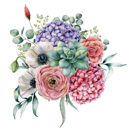Watercolor succulent and hydrangea bouquet. Hand painted pink and violet flowers, cacti, anemone and ranunculus with eucalyptus leaves isolated on white background for design, print. Stock fotó