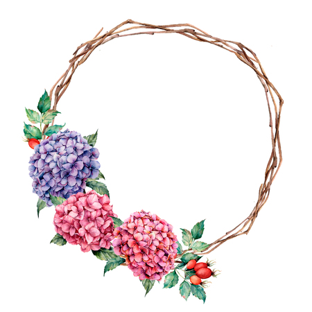 Watercolor wreath with hydrangea and dog rose. Hand painted pink and violet flowers with eucalyptus leaves isolated on white background for design, print. Stock Photo