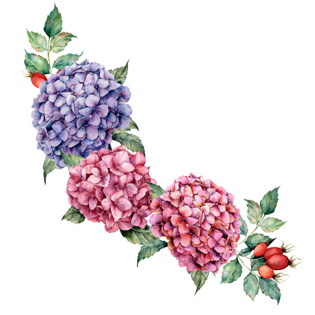 Watercolor hydrangea and dog rose bouquet. Hand painted pink and violet flowers with eucalyptus leaves isolated on white background for design, print.