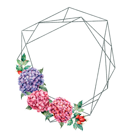 Watercolor polygonal frame with floral bouquet. Hand drawn label with hydrangea and dog rose, leaves and branches, berries isolated on white background. Greeting template for design, print.