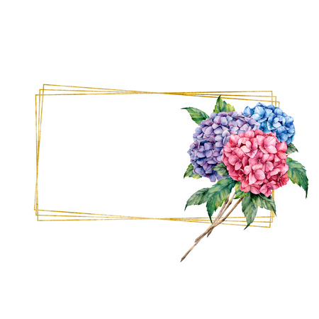 Watercolor frame with floral bouquet. Hand drawn label with hydrangea, leaves and branches isolated on white background. Greeting template for design, print.