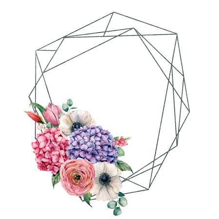 Marco poligonal acuarela con anémona, tulipán y hortensias. Etiqueta dibujada a mano con hortensias, anémona, tulipán, hojas y ramas aisladas sobre fondo blanco. Plantilla de saludo para diseño, impresión. Foto de archivo