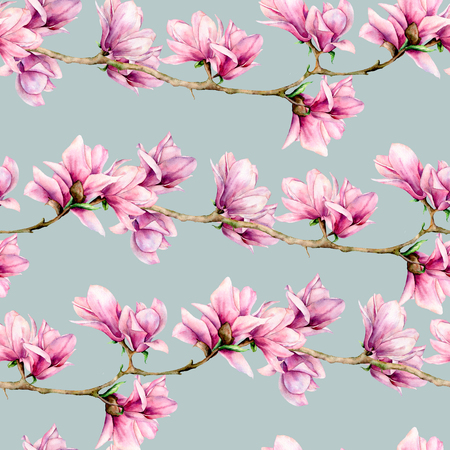 Watercolor magnolia seamless pattern. Hand painted flowers and green leaves on branch isolated on pastel blue background. Floral illustration for design, print, fabric or background. Stock Photo