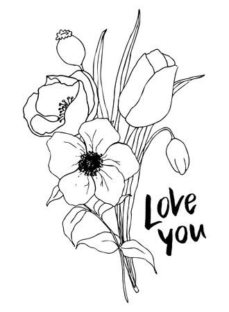 Vector Love you card with greenery and anemone bouquet. Hand painted flowers and berries with eucalyptus leaves and branch isolated on white background for design, print or fabric.