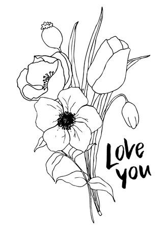 Wektor kocham cię karty z zielenią i bukietem anemonów. Ręcznie malowane kwiaty i jagody z liści eukaliptusa i gałęzi na białym tle do projektowania, drukowania lub tkaniny.