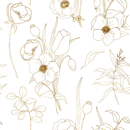 Vector anemone seamless pattern. Hand painted flowers and berries with eucalyptus leaves and branch isolated on white background for design, print or fabric. Stock Photo