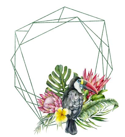 Watercolor polygonal frame with toucan and flowers bouquet. Hand painted bird, protea, plumeria isolated on white background. Nature botanical illustration for design, print. Realistic delicate plant. Stock Photo