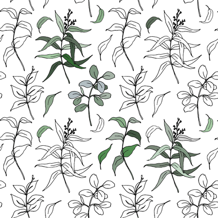 Vector sketch eucalyptus leaves big seamless pattern. Hand painted sepia eucalyptus leaves and branch isolated on white background for design, print or fabric. Illustration