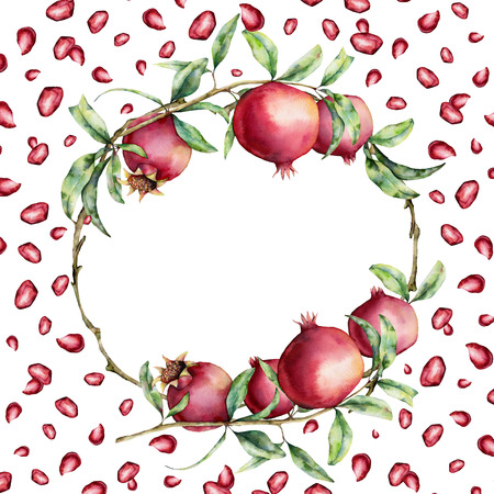 Watercolor pomegranate and berries card with wreath. Hand painted garnet fruit on branch with leaves isolated on white background. Floral elegant illustration for design, print. Stock Photo