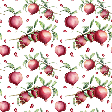 Watercolor pomegranate seamless pattern. Hand painted garnet fruit, berries, branch, leaves isolated on white background. Floral elegant illustration for design, print, fabric or background.