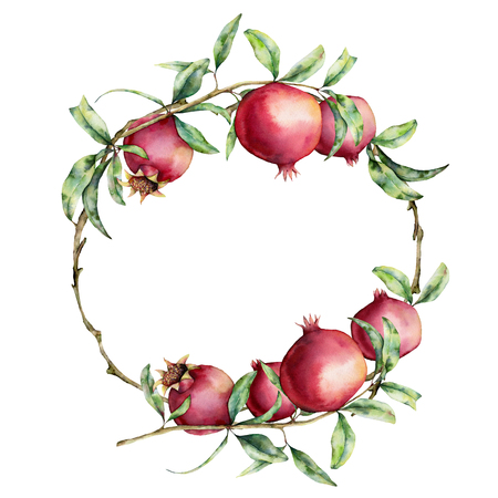 Watercolor pomegranate wreath. Hand painted garnet fruit on branch with leaves isolated on white background. Floral elegant illustration for design, print. Stock Photo