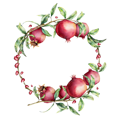 Watercolor pomegranate and berries wreath. Hand painted garnet fruit on branch with leaves isolated on white background. Floral elegant illustration for design, print. Фото со стока