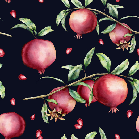 Watercolor pomegranate and berries seamless pattern. Hand painted garnet fruit, branch, leaves isolated on dark blue background. Floral elegant illustration for design, print, fabric or background. Stock Photo