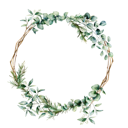 Watercolor eucalyptus branch wreath. Hand painted eucalyptus branch and leaves isolated on white background. Floral illustration for design, print, fabric or background. Banco de Imagens