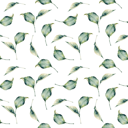 Watercolor leaves composition seamless pattern. Hand painted leaves isolated on white background. Floral illustration for design, print, fabric or background.