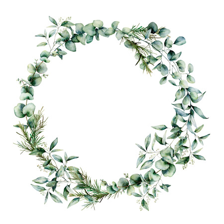 Watercolor different eucalyptus wreath. Hand painted eucalyptus branch and leaves isolated on white background. Floral illustration for design, print, fabric or background. Archivio Fotografico - 121767101