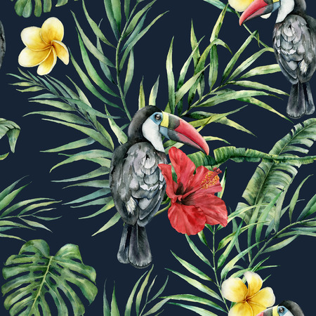 Watercolor toucans and tropical flowers seamless pattern. Hand painted bird, leaves, hibiscus, plumeria isolated on dark blue background. Nature illustration for design, print.