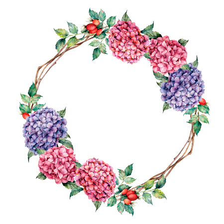 Watercolor wreath with dog rose and hydrangea. Hand painted pink and violet flowers with leaves and tree branches isolated on white background for design, print Stock fotó