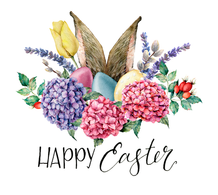 Watercolor Happy easter floral and rabbit ears card. Holiday illustration with hyarangea, eggs, lavender, tulip and dog rose isolated on white background. Nature illustration for design or fabric.