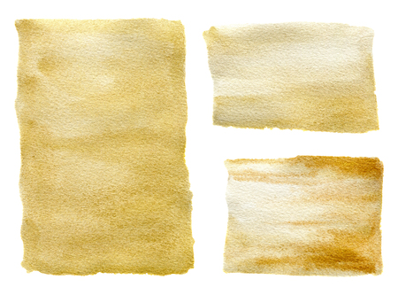 Golden watercolor textures set. Hand painted beautiful illustration for design, print, fabric or background. Stock Photo