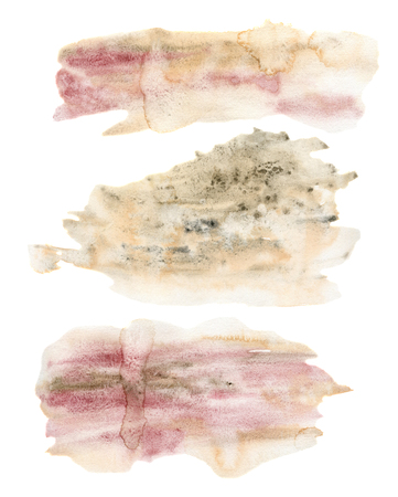 Watercolor texture with golden and pink points set. Hand painted beautiful illustration with stains isolated on white background. For design, print, fabric or background.