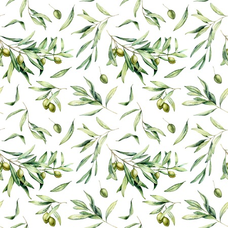 Watercolor seamless pattern with green olives, leaves. Hand painted olives and branches isolated on white background. Botanical illustration for design, print, fabric or background. Banque d'images